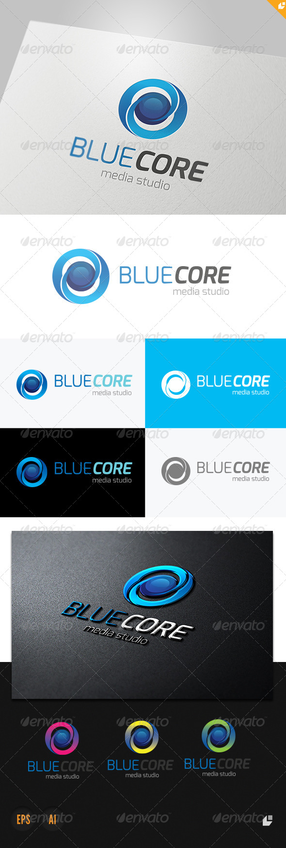 GraphicRiver Blue Core Media Studio Logo 4057802