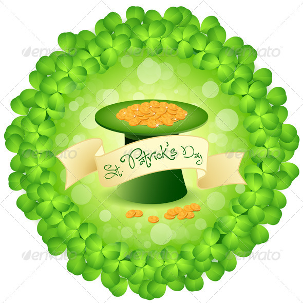 GraphicRiver St Patricks Day Leprechaun Hat with Gold Coins 4057947