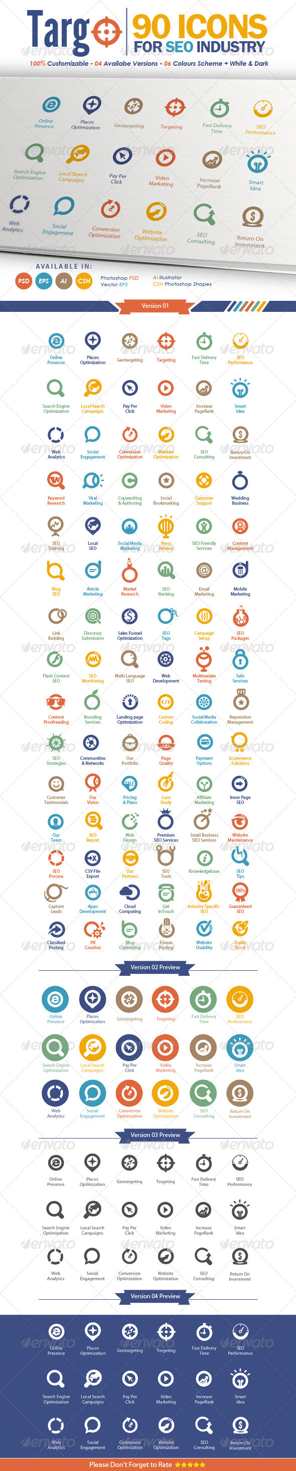 GraphicRiver Targo Premium SEO Industry Icons 4058325