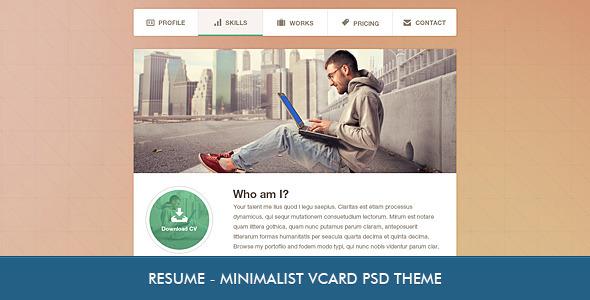 ThemeForest Resume Minimalist Professional vCard PSD 4059221