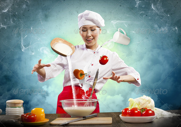 PhotoDune Asian female cooking with magic 4061321