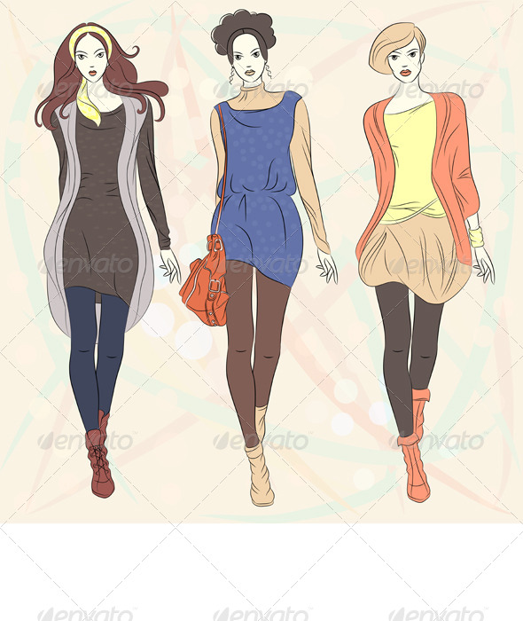 GraphicRiver Vector Beautiful Fashion Girls Top Models 4061022