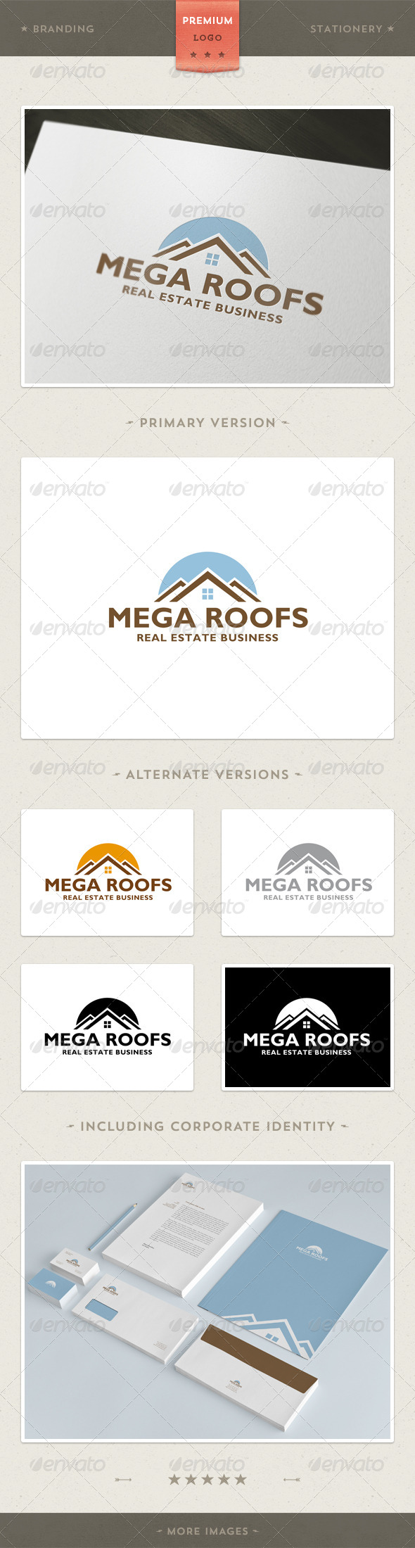 GraphicRiver Mega Roofs Real Estate and Architecture & Branding Identity 3909034