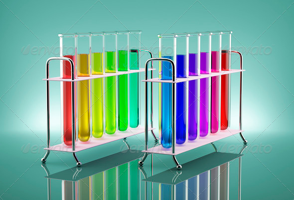 Solutions Chemistry Colored chemical solutions in