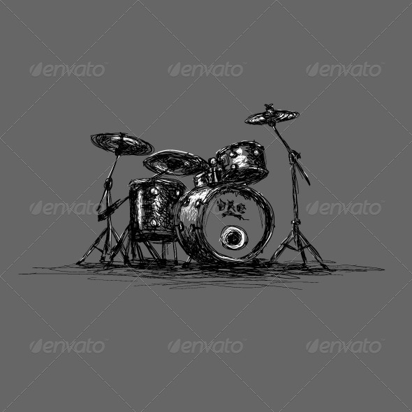 GraphicRiver Hand-Drawn Grunge Drum Set 4061862