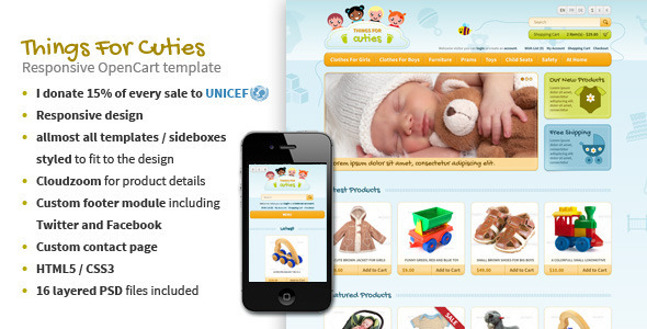ThemeForest ThingsforCuties Responsive OpenCart Baby Template 4057428