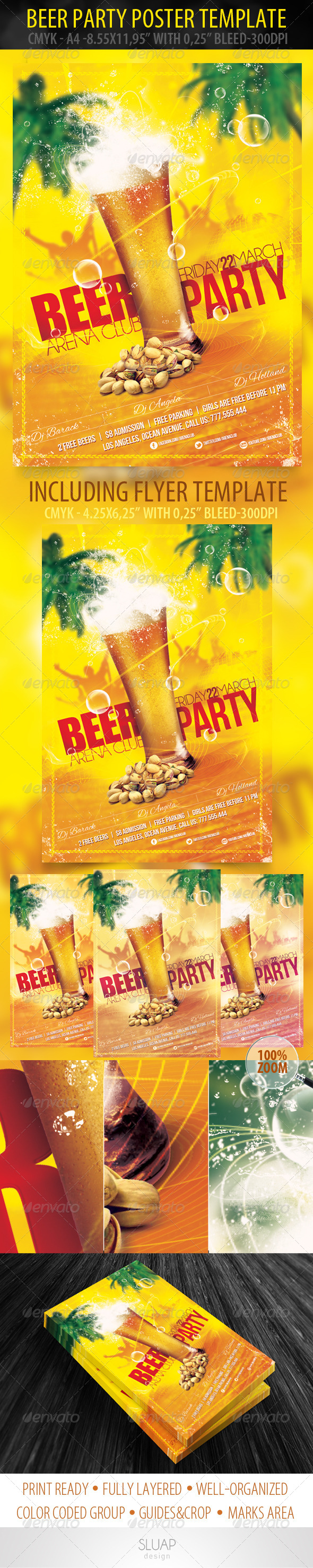 GraphicRiver Beer Party Poster & Flyer Template 3951776