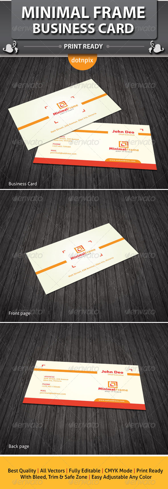 Minimal Frame Business Card - Corporate Business Cards