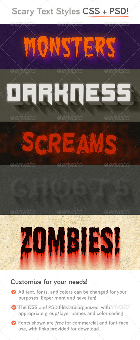 Scary CSS Type Styles (+PSD) - Text Effects Actions