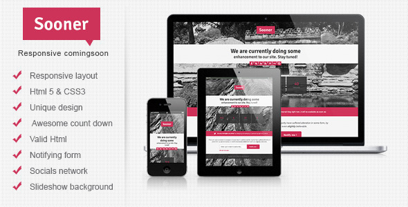 ThemeForest Sooner Responsive Comingsoon Template 4063986
