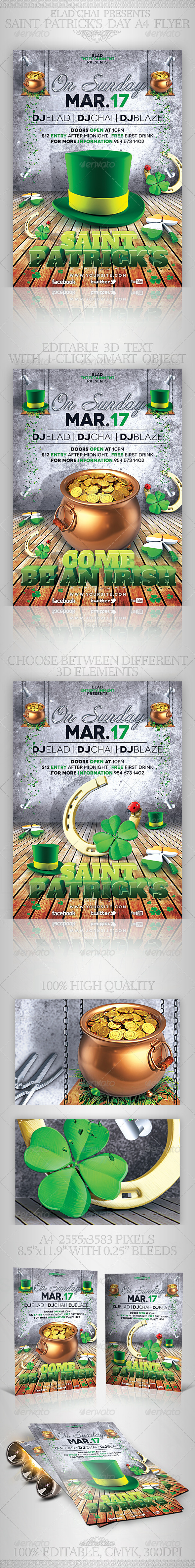 GraphicRiver St Patrick s Day A4 Flyer Poster Template 3958933