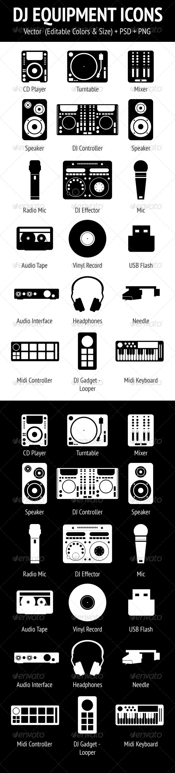 DJ Equipment Icons Set - Technology Icons