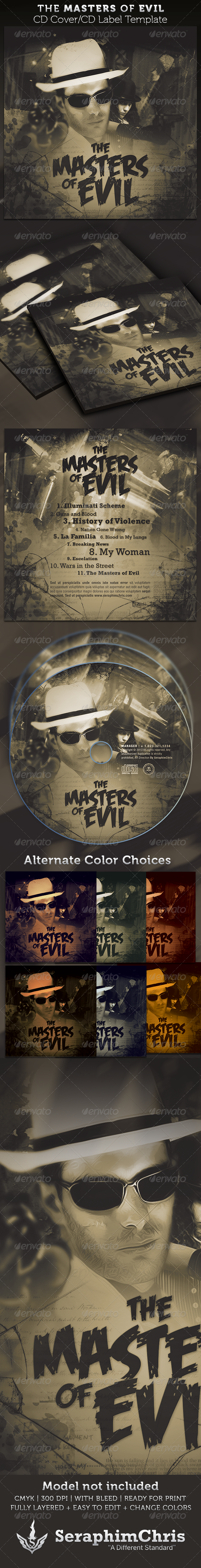 The Masters of Evil CD Cover Artwork Template - CD & DVD artwork Print Templates