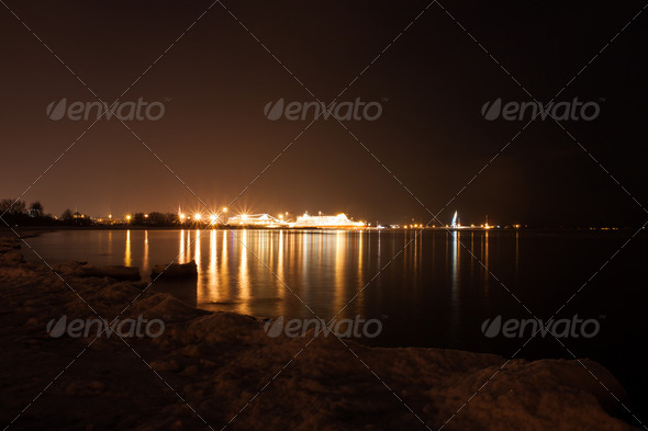 PhotoDune View on Tallinn sea port at night 4082251