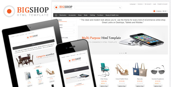 ThemeForest Bigshop Multi-Purpose Responsive Html Template 4063041
