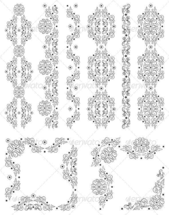 GraphicRiver Set of Vector Borders Decorative Floral Elements 4068136