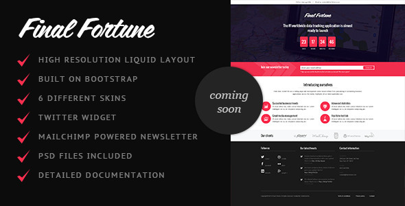 Final Fortune Coming Soon page - Under Construction Specialty Pages