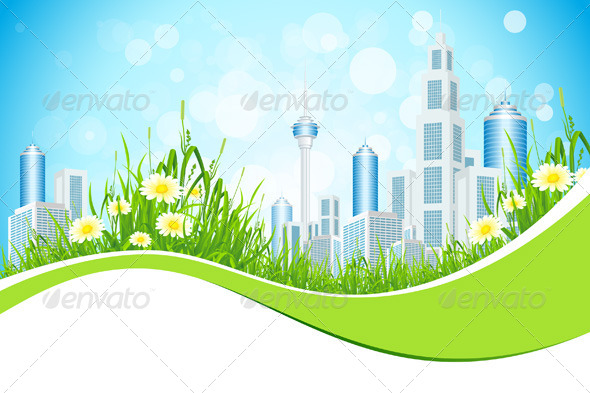 Abstract Background with City Line Flowers and Grass - Landscapes Nature