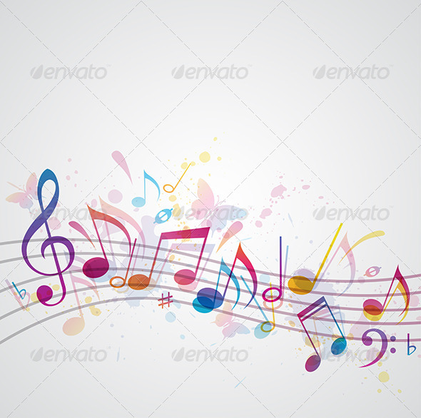 GraphicRiver Music Background with Butterflies 4068891