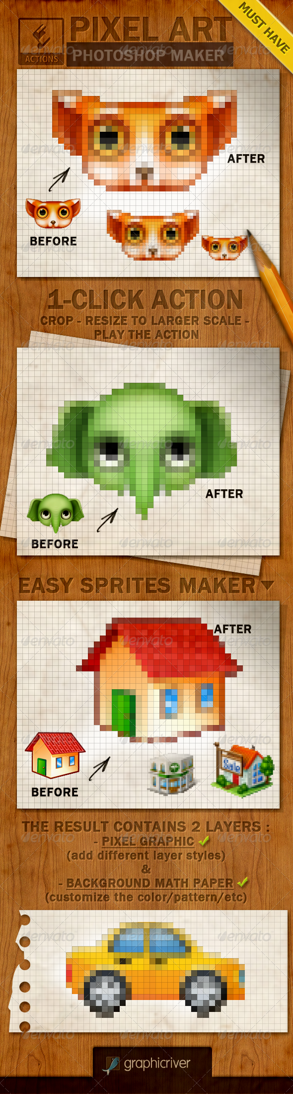 GraphicRiver Pixel Art Creator Photoshop Action 4069527