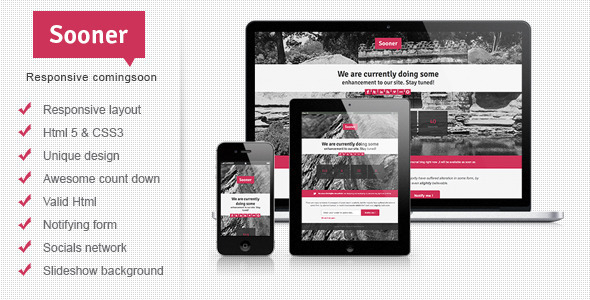 Sooner Responsive Comingsoon Template - Under Construction Specialty Pages