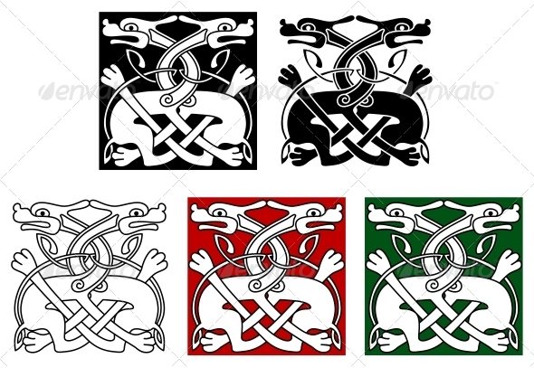 Celtic ornament with wild dogs - Animals Characters