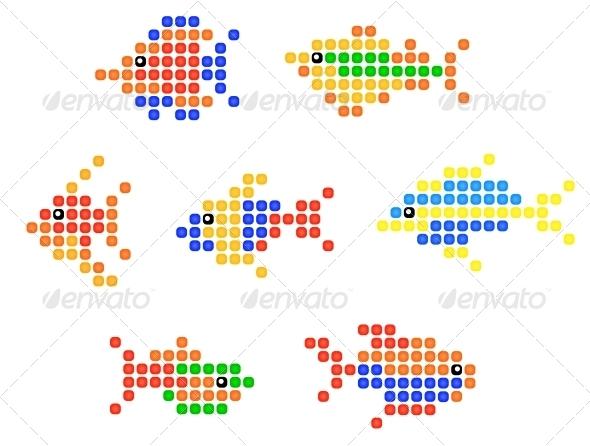 GraphicRiver Aquarium and sea fish symbols 4071637