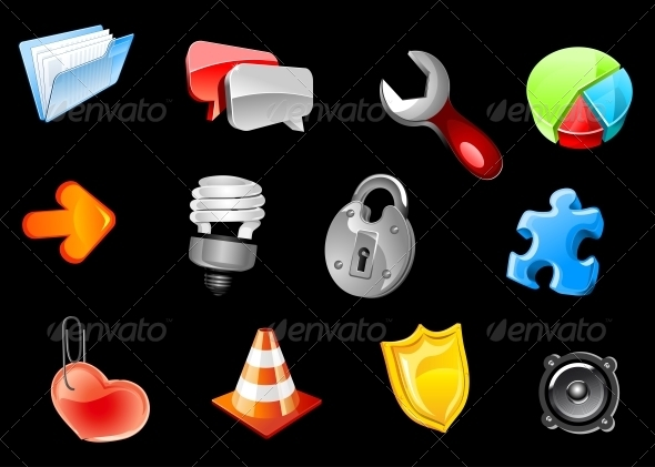 Glossy icons for web design - Man-made objects Objects