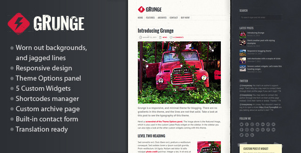 Grunge - Responsive Blog Theme - Personal Blog / Magazine