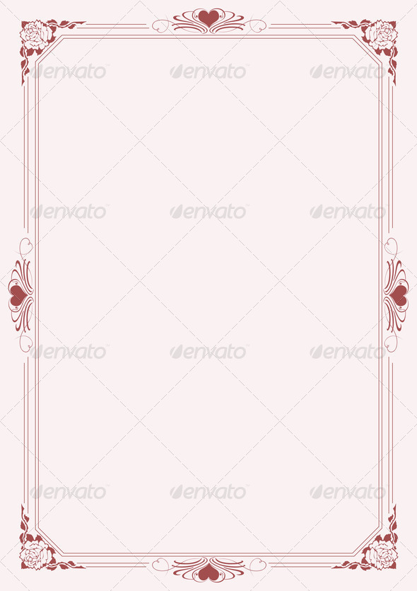 Love letter A4 paper with decorative borders 4 - Stock Photo - Images