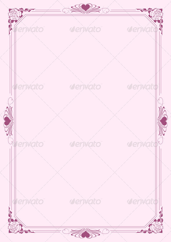 Love letter A4 paper with decorative borders 3 - Stock Photo - Images