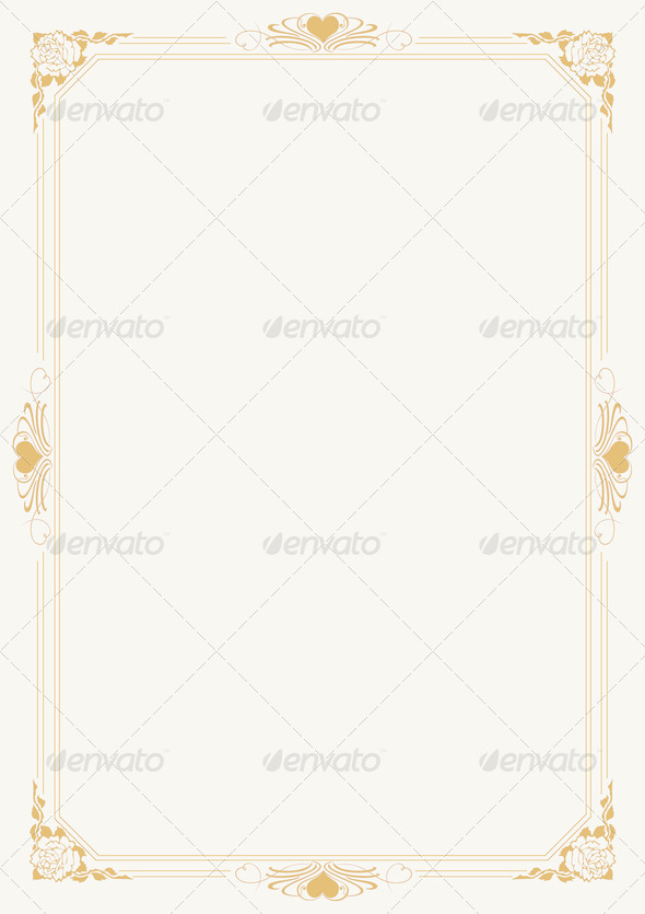 Love letter A4 paper with decorative borders 6 - Stock Photo - Images