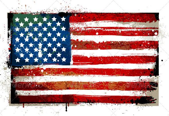 GraphicRiver Grungy USA flag 4073106