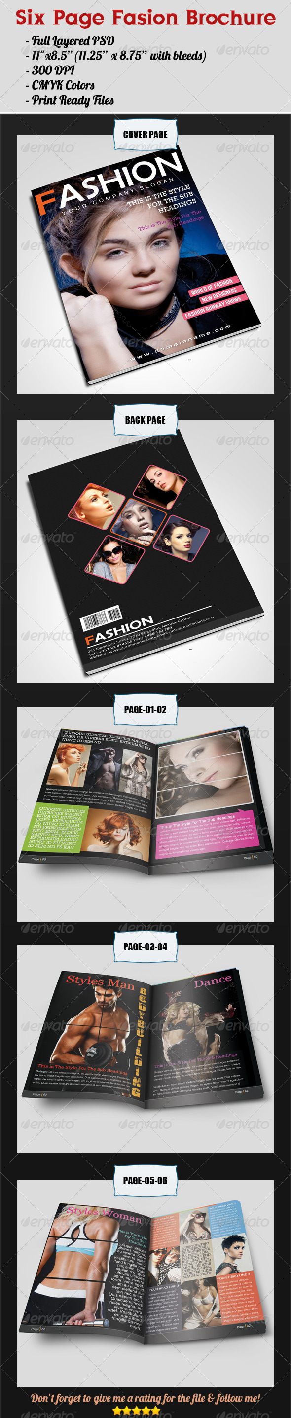 Six Page Fashion Brochure - Brochures Print Templates