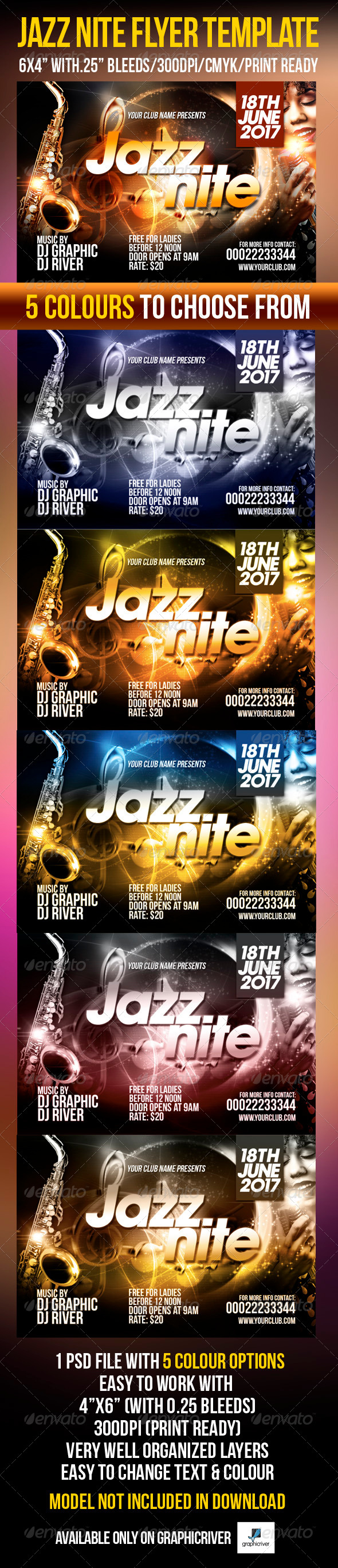 GraphicRiver Jazz Nite Flyer Template 4074033