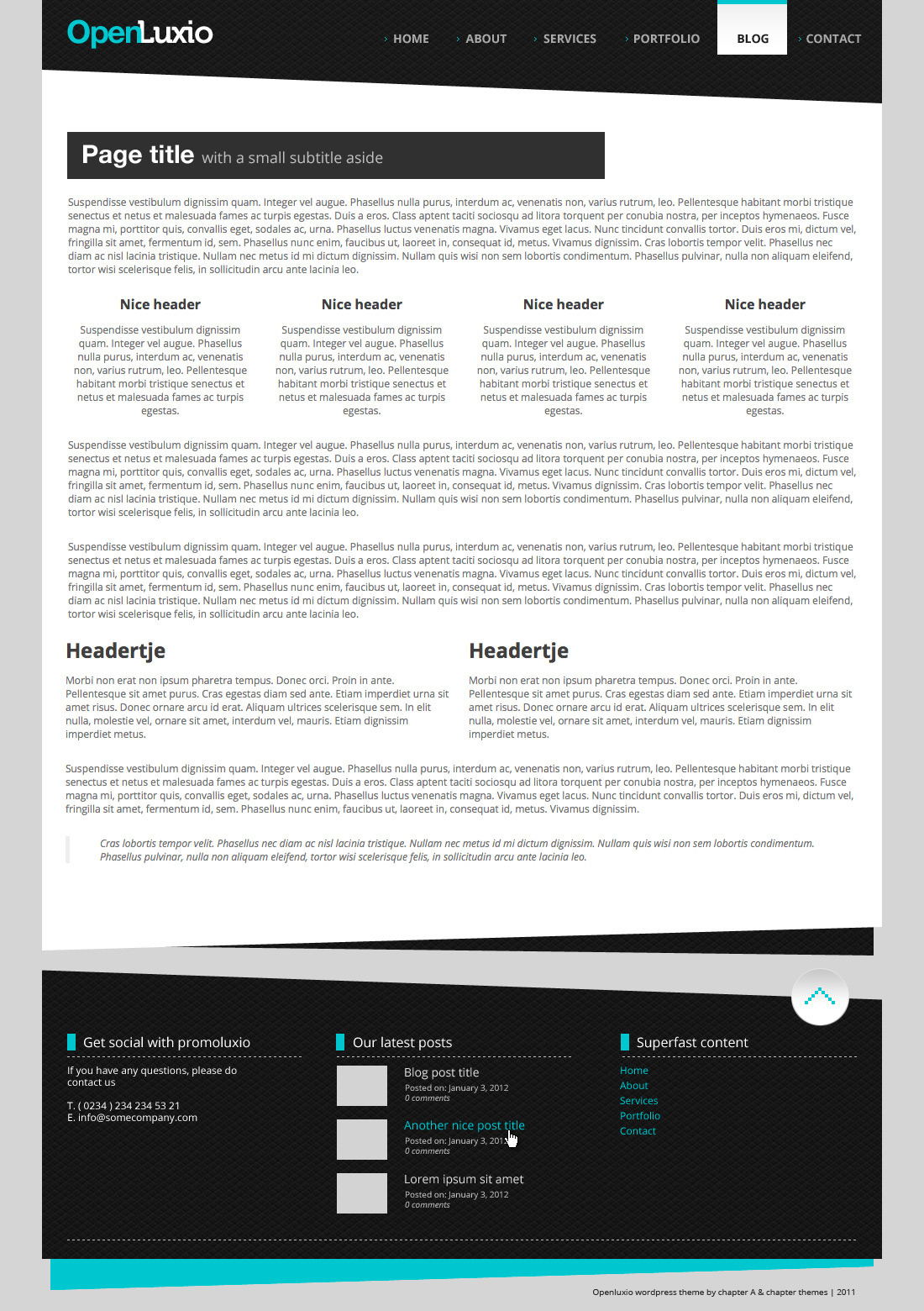 Openluxio wordpress theme - Cleancore homepage. Columns are not fixed, You can make any layout you need with the build in column options. So you could also have an 2 or 4 column layout on the homepage.
