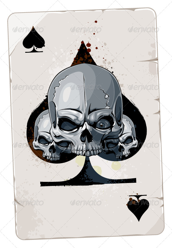 GraphicRiver Poker Card with Skulls 4076480