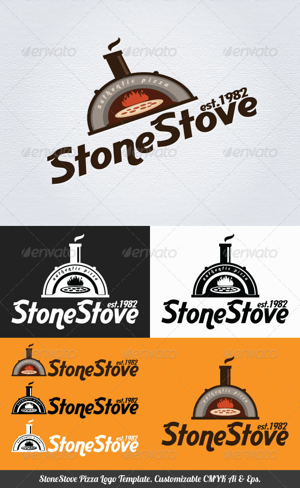 GraphicRiver Stone Stove Pizza Logo Template 3708870