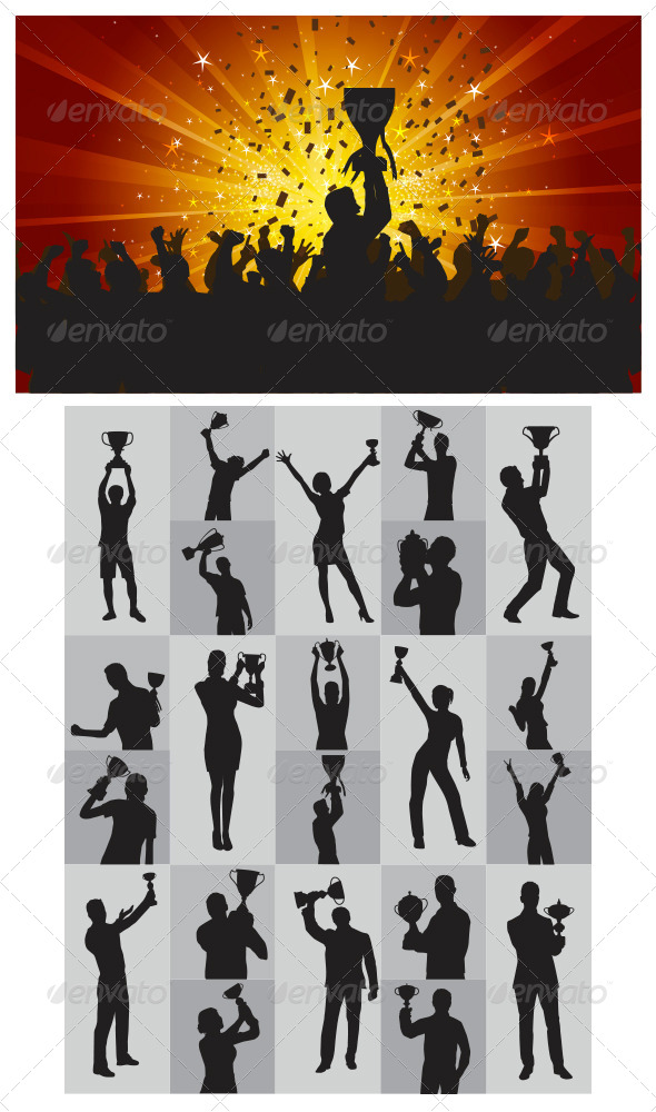 GraphicRiver The Winner Silhouettes 4080964