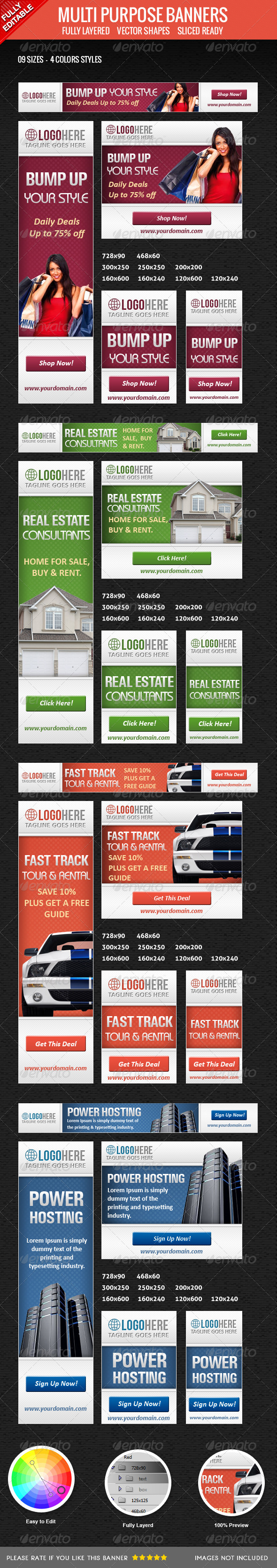 Multipurpose Banners Set - Banners & Ads Web Elements