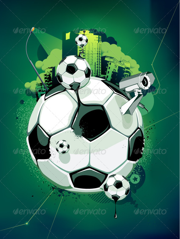 GraphicRiver Soccer Balls and Urban Elements 4082382