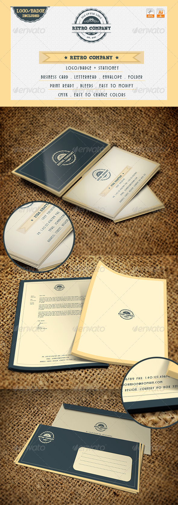 Retro Company - Logo and Stationery - Stationery Print Templates