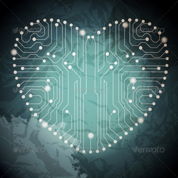 GraphicRiver Circuit Board with in Heart Shape Pattern 4082590