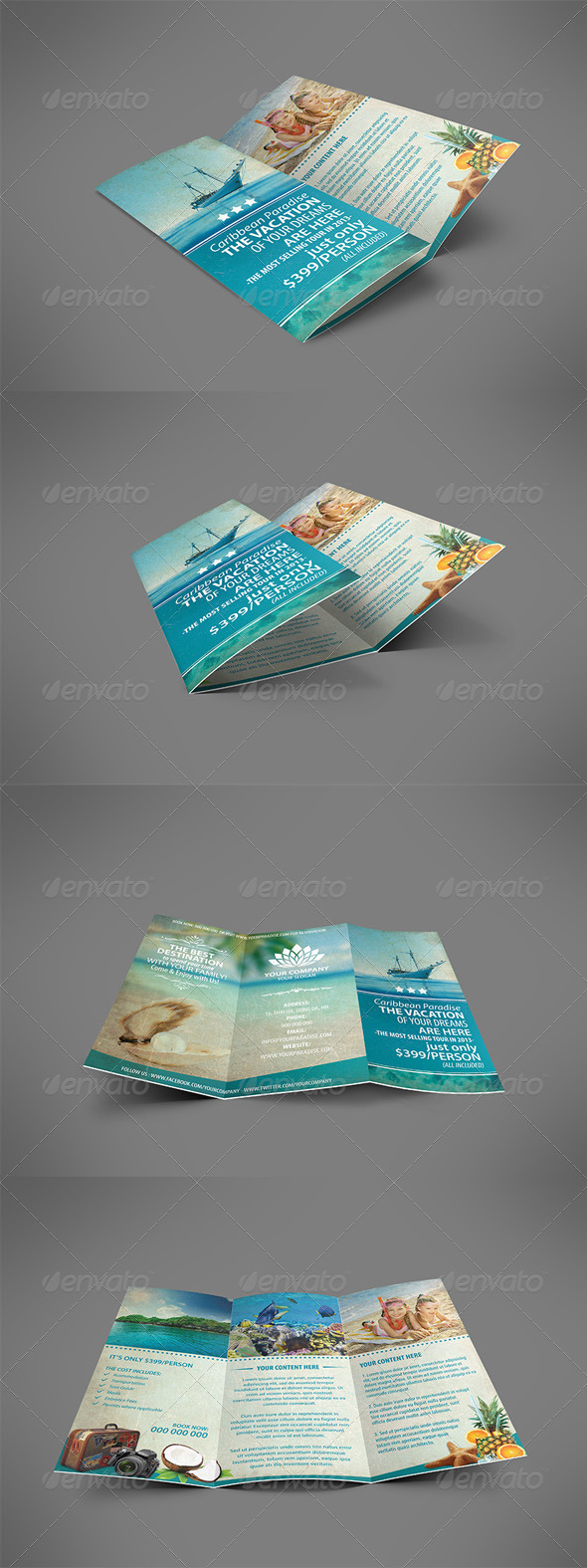 Vintage Travel Brochure Tri-fold - Brochures Print Templates