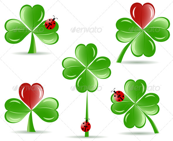 Shamrocks with Four Lucky Leaves - Miscellaneous Seasons/Holidays