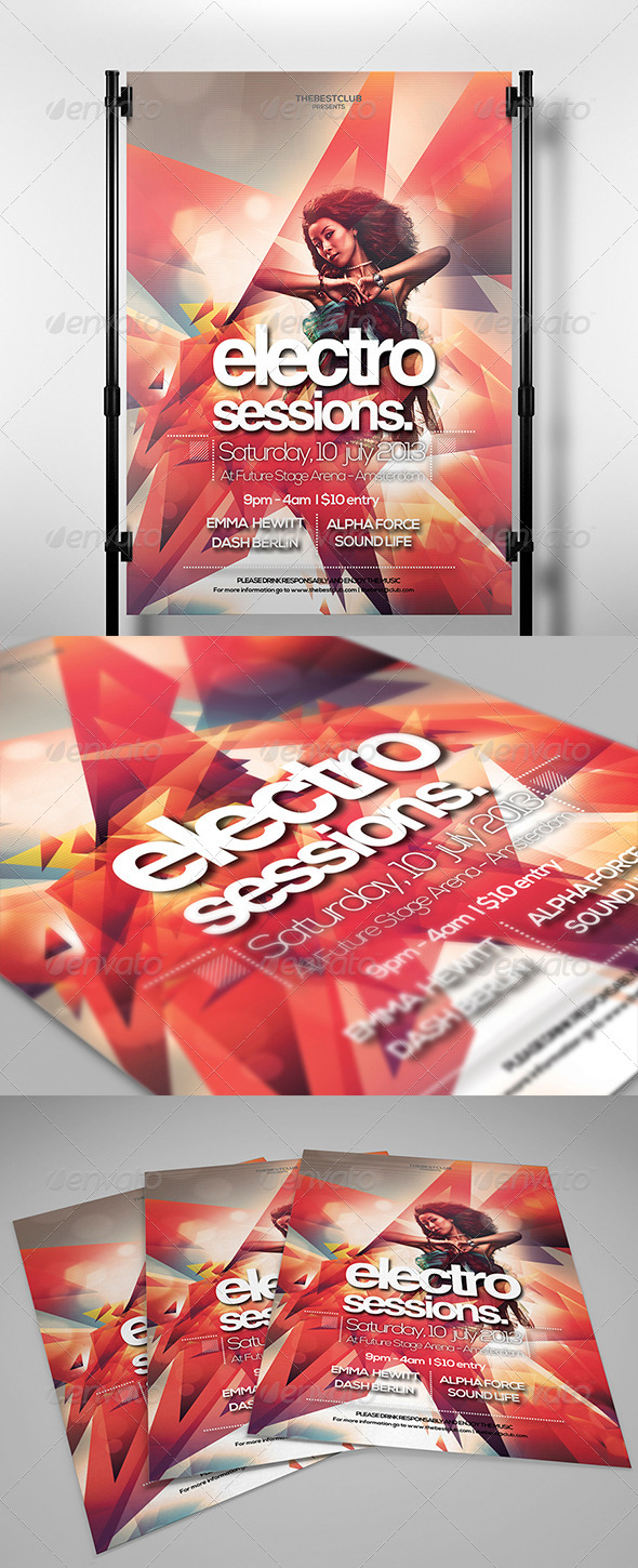 Electro Sessions 2 Flyer Template - Clubs & Parties Events