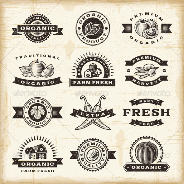 GraphicRiver Vintage Organic Harvest Stamps Set 4086612