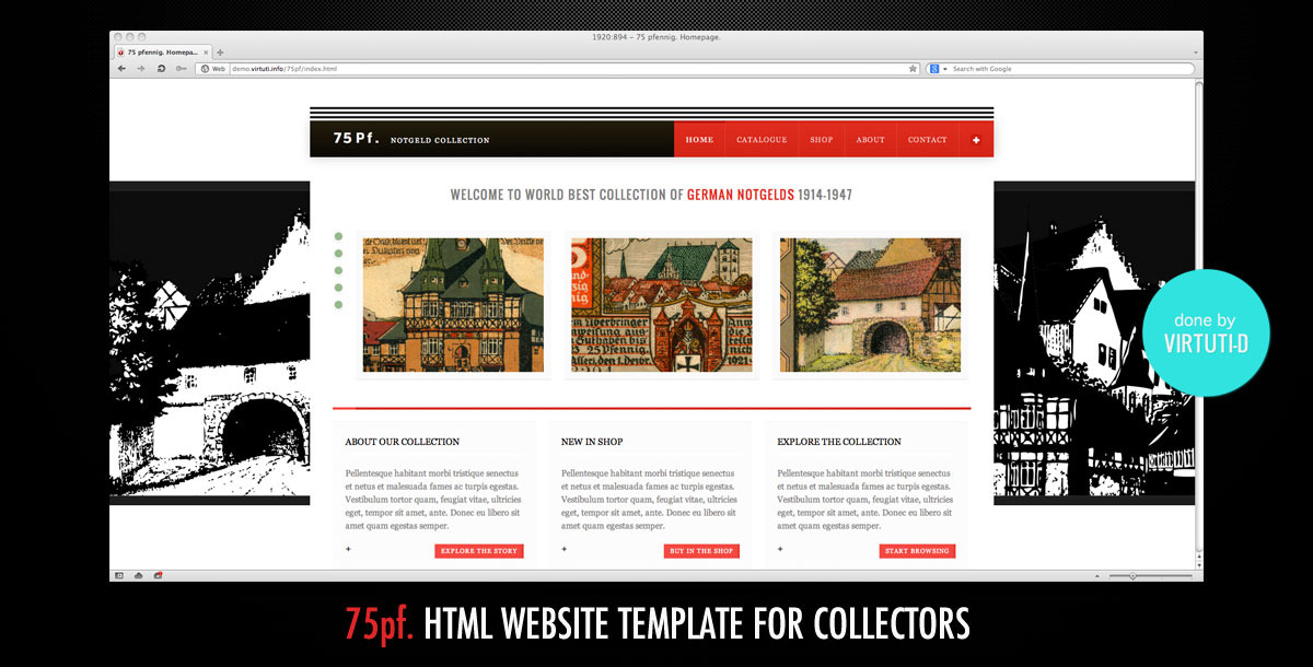 75 PF–Classic Website Template For Collectors