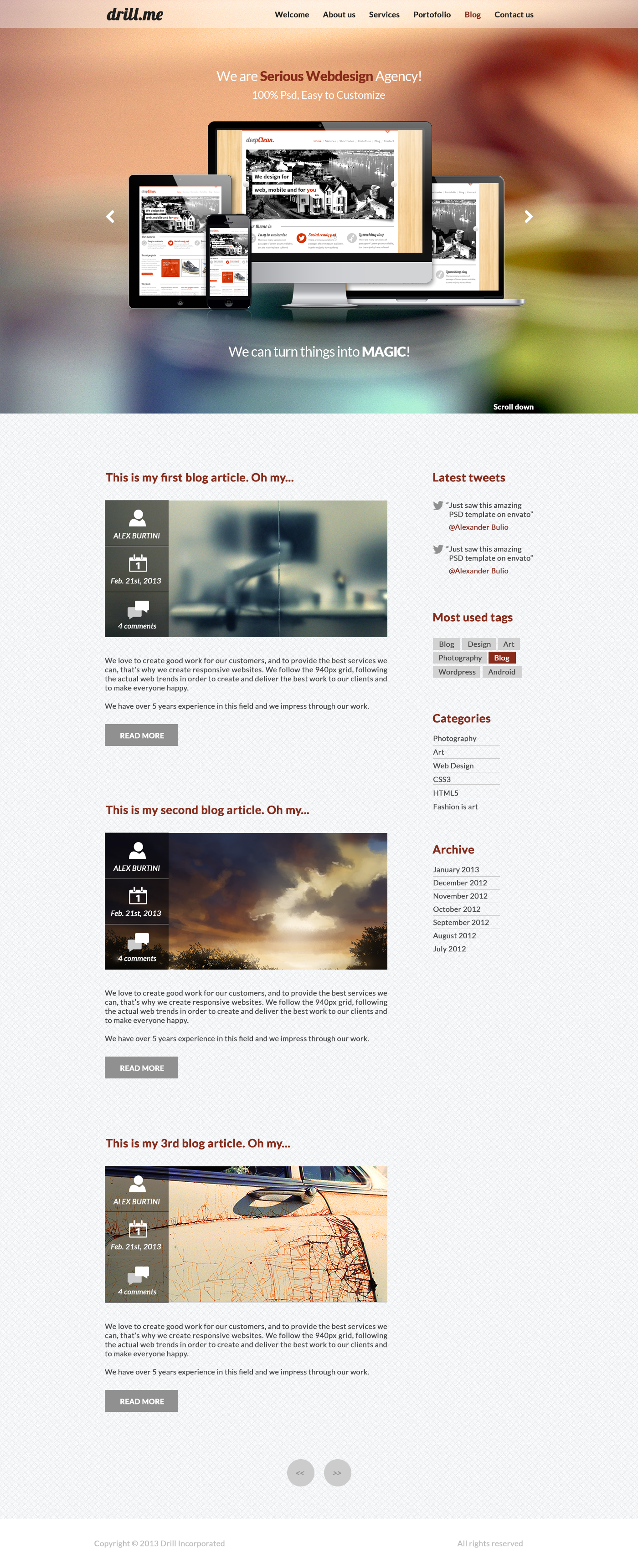 drill.me - Single Page Responsive Ready PSD