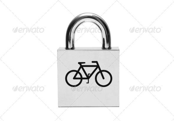 PhotoDune Silver padlock with bicycle 4088358